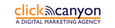 Click Canyon Marketing Agency Orange and Blue with a wifi symbol Click Canyon Marketing Agency