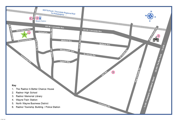 A map with a key of Radnor showing Radnor ABC House and local streets
